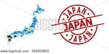 Climate Pattern Map Of Japan, And Grunge Red Round Seal. Geographic Vector Mosaic Map Of Japan Is Do