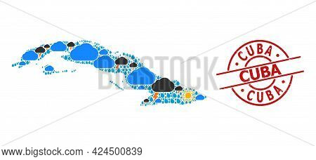 Weather Collage Map Of Cuba, And Rubber Red Round Seal. Geographic Vector Collage Map Of Cuba Is Don