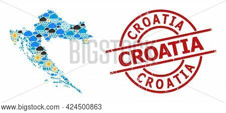 Weather Mosaic Map Of Croatia, And Grunge Red Round Stamp. Geographic Vector Mosaic Map Of Croatia I