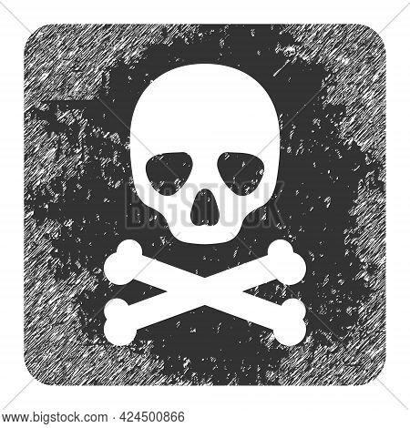 Death Box Icon With Scratched Effect. Isolated Raster Death Box Icon Image With Corroded Rubber Text