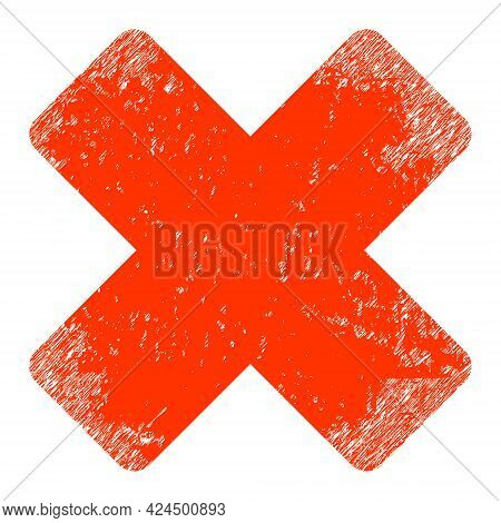 Reject Icon With Grunge Style. Isolated Raster Reject Icon Image With Grunge Rubber Texture On A Whi