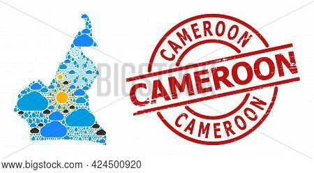 Climate Collage Map Of Cameroon, And Rubber Red Round Stamp Seal. Geographic Vector Collage Map Of C