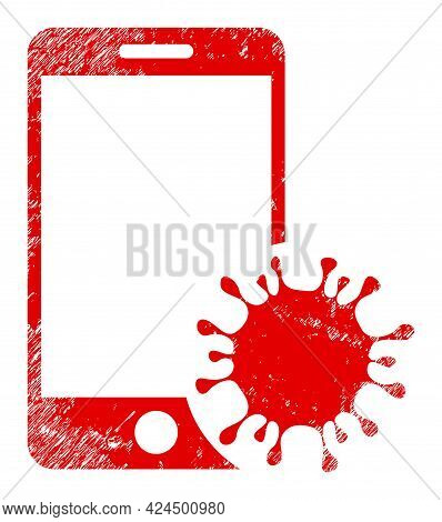 Infected Smartphone Icon With Grunge Style. Isolated Raster Infected Smartphone Icon Image With Grun