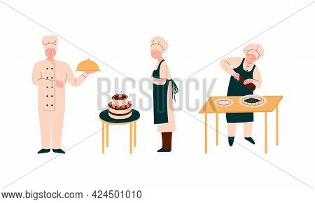 Chef Character In Apron And Toque Preparing Food At Restaurant Kitchen Vector Set