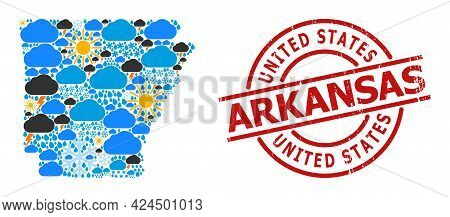 Weather Collage Map Of Arkansas State, And Rubber Red Round Stamp. Geographic Vector Collage Map Of