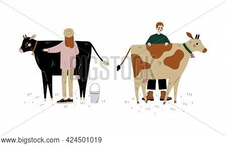 Man And Woman Farmer Standing Near Milk Cow Grazing On Pasture With Bell Hanging On Its Neck Vector