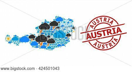 Climate Collage Map Of Austria, And Scratched Red Round Seal. Geographic Vector Collage Map Of Austr