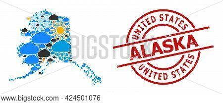 Weather Mosaic Map Of Alaska State, And Rubber Red Round Stamp. Geographic Vector Concept Map Of Ala