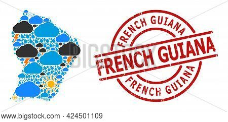 Weather Mosaic Map Of French Guiana, And Distress Red Round Badge. Geographic Vector Mosaic Map Of F