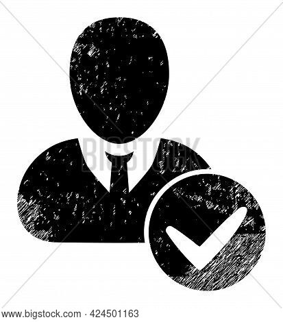 Valid User Icon With Scratched Style. Isolated Raster Valid User Icon Image With Scratched Rubber Te