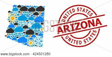 Weather Mosaic Map Of Arizona State, And Textured Red Round Stamp Seal. Geographic Vector Mosaic Map