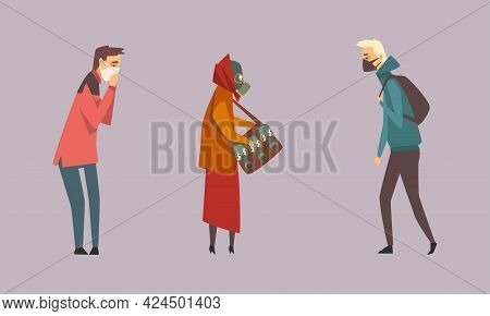 People Characters Wearing Protective Face Mask And Gas Helmet Against Fumes And Smog Vector Set