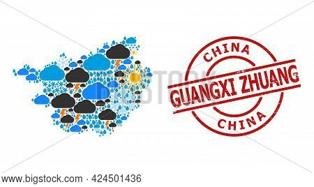 Climate Pattern Map Of Guangxi Zhuang Region, And Textured Red Round Stamp. Geographic Vector Concep