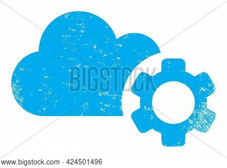 Cloud Service Icon With Scratched Style. Isolated Raster Cloud Service Icon Image With Unclean Rubbe