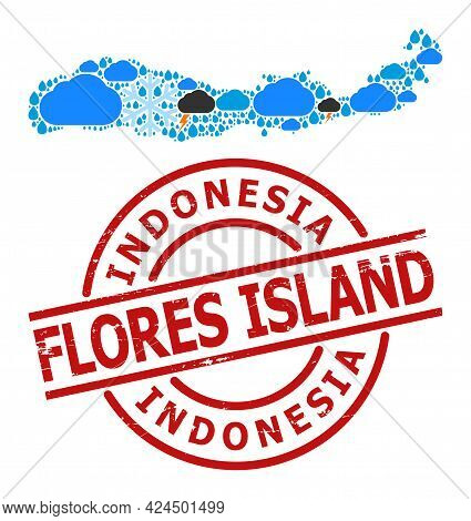 Climate Mosaic Map Of Indonesia - Flores Island, And Scratched Red Round Stamp Seal. Geographic Vect
