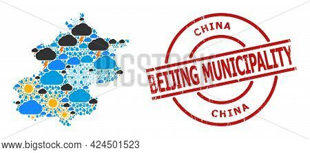 Weather Mosaic Map Of Beijing Municipality, And Rubber Red Round Stamp. Geographic Vector Mosaic Map