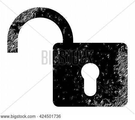 Open Lock Icon With Grunge Style. Isolated Raster Open Lock Icon Image With Unclean Rubber Texture O