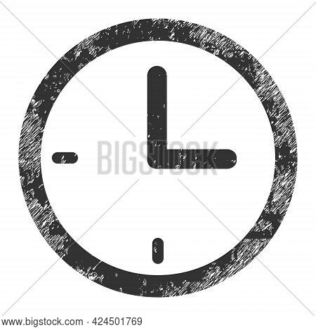 Clock Icon With Grunge Effect. Isolated Raster Clock Icon Image With Unclean Rubber Texture On A Whi