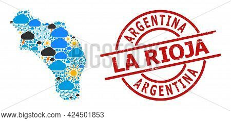 Weather Mosaic Map Of Argentina - La Rioja, And Textured Red Round Stamp Seal. Geographic Vector Mos