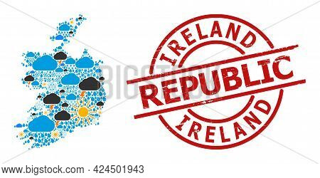 Weather Mosaic Map Of Ireland Republic, And Rubber Red Round Seal. Geographic Vector Mosaic Map Of I