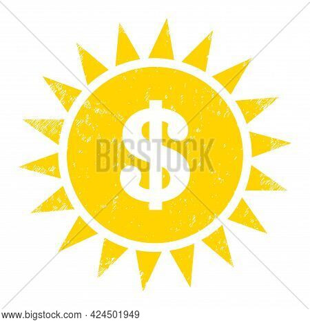 Dollar Shine Icon With Scratched Style. Isolated Raster Dollar Shine Icon Image With Unclean Rubber