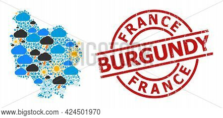 Weather Mosaic Map Of Burgundy Province, And Rubber Red Round Stamp Seal. Geographic Vector Mosaic M