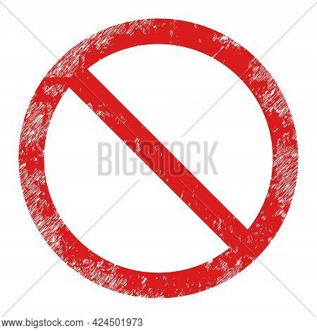 Restricted Icon With Scratched Effect. Isolated Raster Restricted Icon Image With Scratched Rubber T