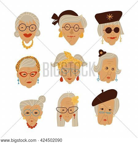 Stylish Grandmas Faces Picture Set, Doodle Hand Drawn Vector Illustration Of Granny Heads With Gray