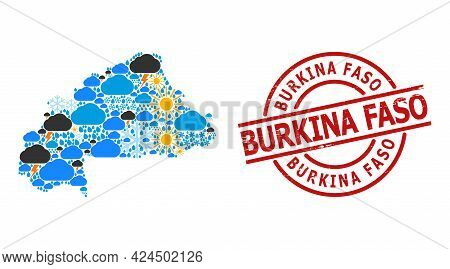 Weather Mosaic Map Of Burkina Faso, And Grunge Red Round Stamp. Geographic Vector Mosaic Map Of Burk