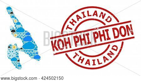 Climate Mosaic Map Of Koh Phi Don, And Rubber Red Round Stamp Seal. Geographic Vector Mosaic Map Of