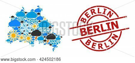 Climate Mosaic Map Of Berlin City, And Rubber Red Round Seal. Geographic Vector Mosaic Map Of Berlin