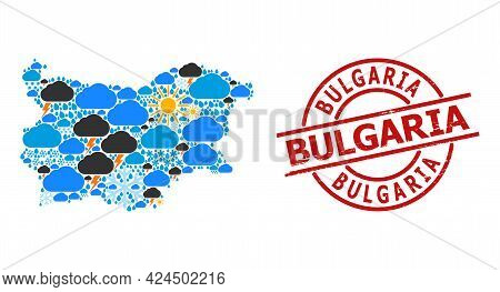 Weather Collage Map Of Bulgaria, And Rubber Red Round Stamp Seal. Geographic Vector Collage Map Of B