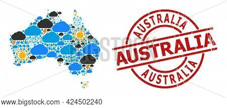 Weather Mosaic Map Of Australia, And Grunge Red Round Badge. Geographic Vector Mosaic Map Of Austral