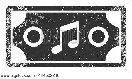 Concert Ticket Icon With Grunge Style. Isolated Raster Concert Ticket Symbol With Grunge Rubber Text