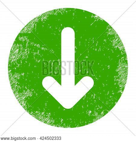 Down Direction Icon With Scratched Style. Isolated Raster Down Direction Icon Image With Scratched R