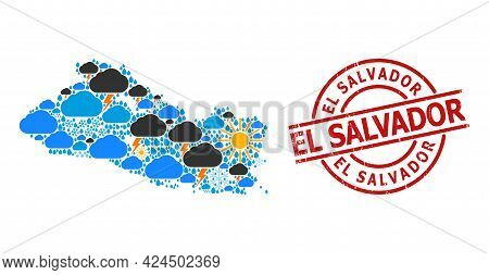 Weather Collage Map Of El Salvador, And Textured Red Round Stamp Seal. Geographic Vector Collage Map