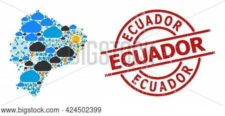 Climate Collage Map Of Ecuador, And Textured Red Round Badge. Geographic Vector Collage Map Of Ecuad