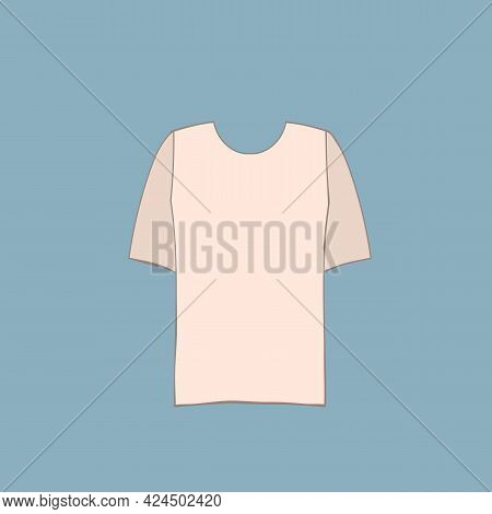 Cute Female Beige T-shirt. Trendy Summer Look. Unisex Clothes Element. Template Modern Design For In