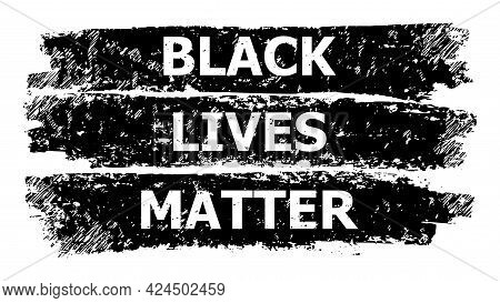 Black Lives Matter Icon With Grunge Style. Isolated Raster Black Lives Matter Icon Image With Grunge