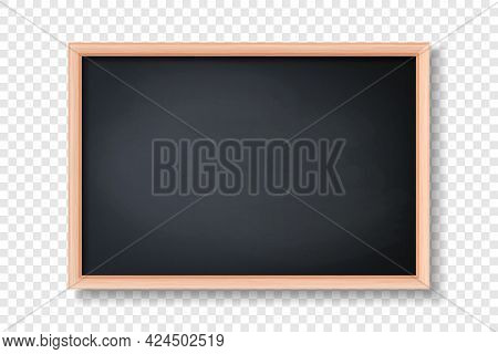 Vector 3d Realistic Blank Black Chalkboard, Wooden Frame Closeup Isolated On Transparent Background.