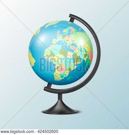Vector Realistic 3d Globe Of Planet Earth With Political Map Of World Icon Closeup Isolated. Design
