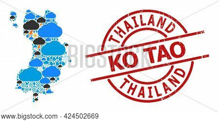 Climate Collage Map Of Ko Tao, And Textured Red Round Seal. Geographic Vector Composition Map Of Ko