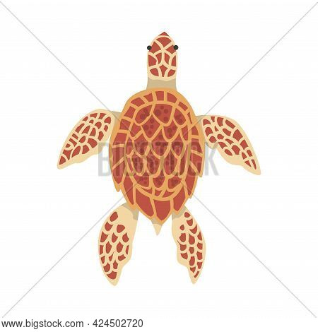 Turtle Aquatic Or Terrestrial Reptilian Creature Cartoon Vector Illustration