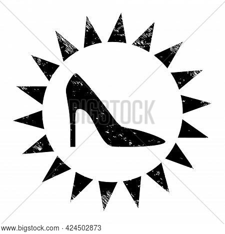 Exclusive Ladies Shoes Icon With Scratched Style. Isolated Vector Exclusive Ladies Shoes Icon Image