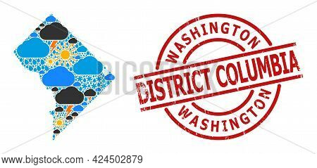 Climate Collage Map Of District Columbia, And Scratched Red Round Stamp. Geographic Vector Collage M