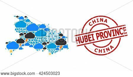 Weather Collage Map Of Hubei Province, And Distress Red Round Stamp Seal. Geographic Vector Collage