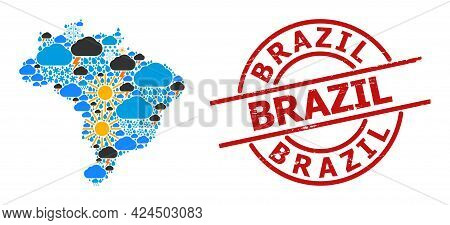 Climate Mosaic Map Of Brazil, And Textured Red Round Badge. Geographic Vector Mosaic Map Of Brazil I