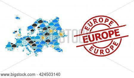 Climate Mosaic Map Of Europe, And Scratched Red Round Seal. Geographic Vector Collage Map Of Europe