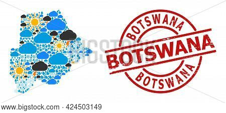 Climate Collage Map Of Botswana, And Rubber Red Round Stamp Seal. Geographic Vector Mosaic Map Of Bo