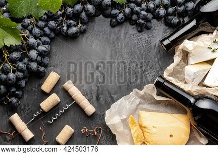 Wine Bottles Cheeses Grapes Corkscrew Made Frame. Vintage Still Life Wine Composition With Camembert